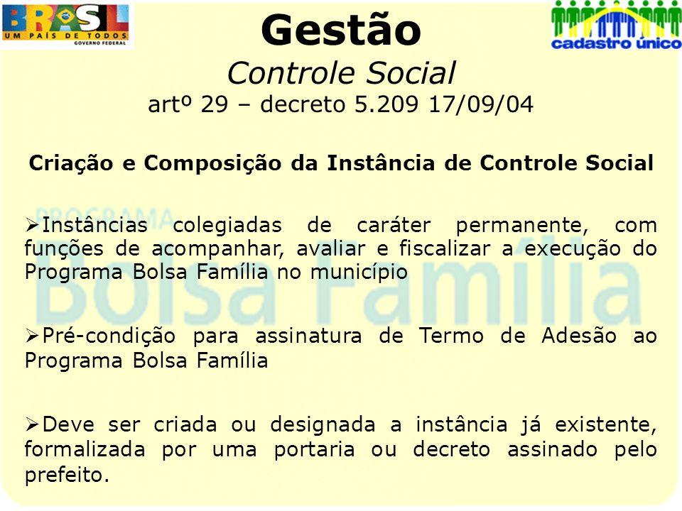 Gestão Controle Social artº 29 – decreto 5.209 17/09/04 Criação e Composição da Instância de Controle Social Instâncias colegiadas de caráter permanen