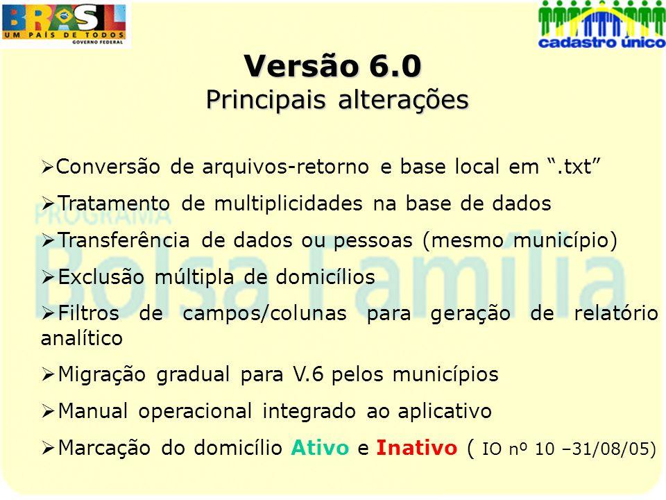 Versão 6.0 Principais alterações Conversão de arquivos-retorno e base local em.txt Tratamento de multiplicidades na base de dados Transferência de dad