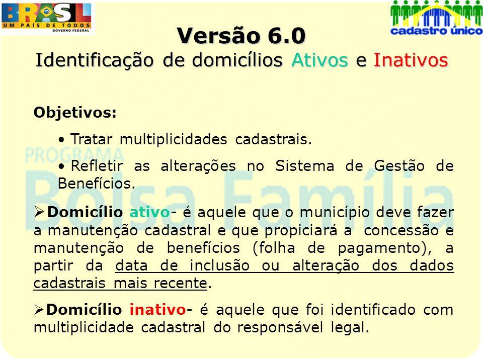 Versão 6.0 Identificação de domicílios Ativos e Inativos Objetivos: Tratar multiplicidades cadastrais. Refletir as alterações no Sistema de Gestão de