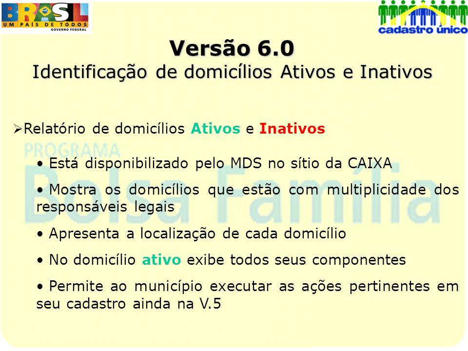 Versão 6.0 Identificação de domicílios Ativos e Inativos Relatório de domicílios Ativos e Inativos Está disponibilizado pelo MDS no sítio da CAIXA Mos