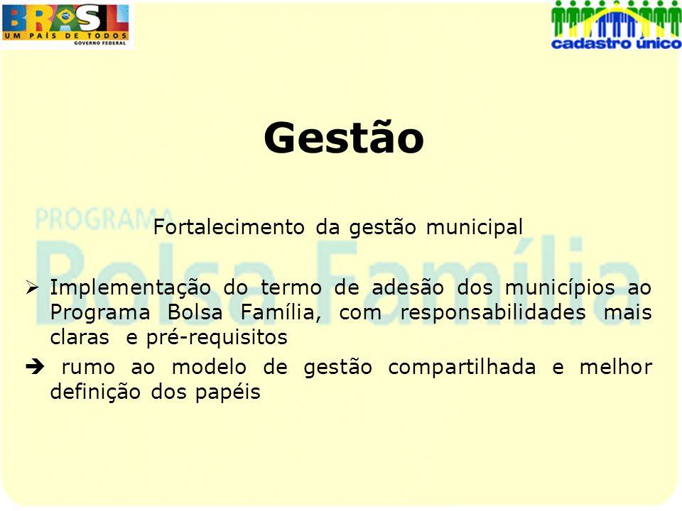 Gestão Fortalecimento da gestão municipal Implementação do termo de adesão dos municípios ao Programa Bolsa Família, com responsabilidades mais claras