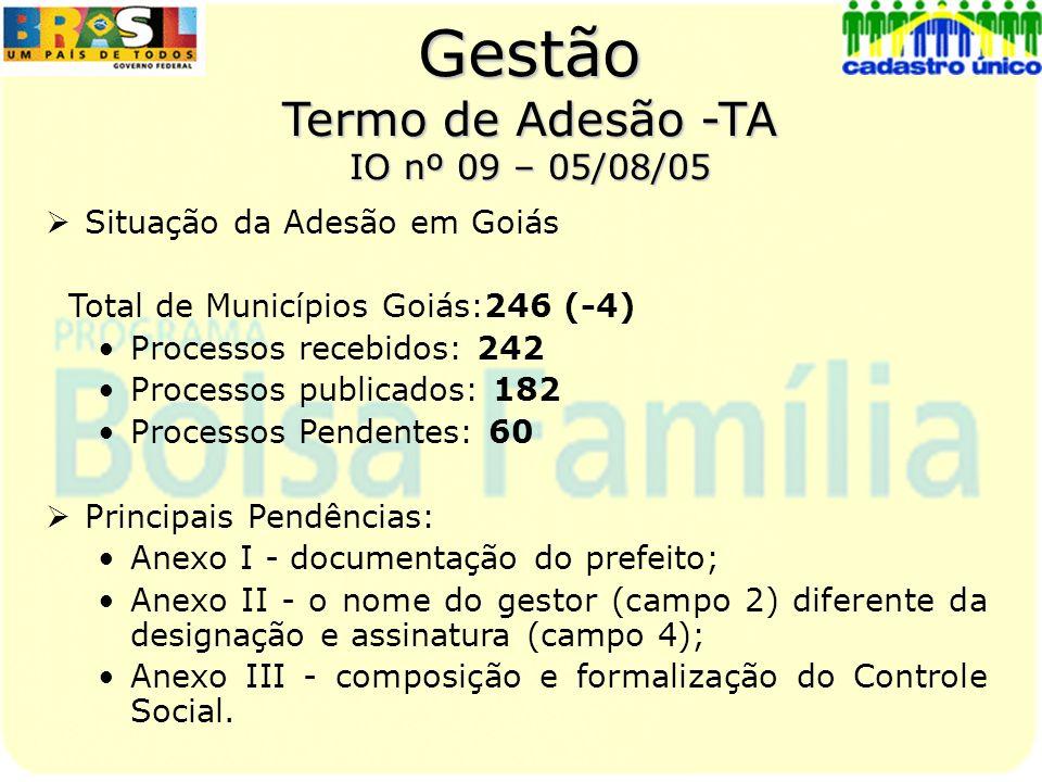 Gestão Termo Adesão /Transferência de Recursos Portaria nº 360 publicada em: 12/06/05 terão direito ao recurso na: Atualização de dados no CadÚnico Complementação dos dados dos programas remanescentes Inclusão de dados de famílias elegíveis ao PBF Para Goiás (soma 246 municípios) Total Potencial de cadastros válidos – 340.425 Total Potencial de recursos a remunerar - R$ 2.042.550,00