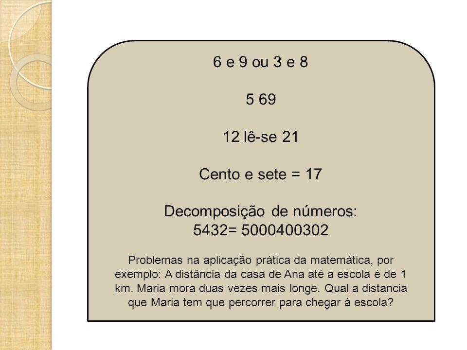 6 e 9 ou 3 e 8 5 69 12 lê-se 21 Cento e sete = 17 Decomposição de números: 5432= 5000400302 Problemas na aplicação prática da matemática, por exemplo: