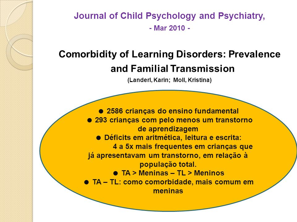 Journal of Child Psychology and Psychiatry, - Mar 2010 - Comorbidity of Learning Disorders: Prevalence and Familial Transmission (Landerl, Karin; Moll