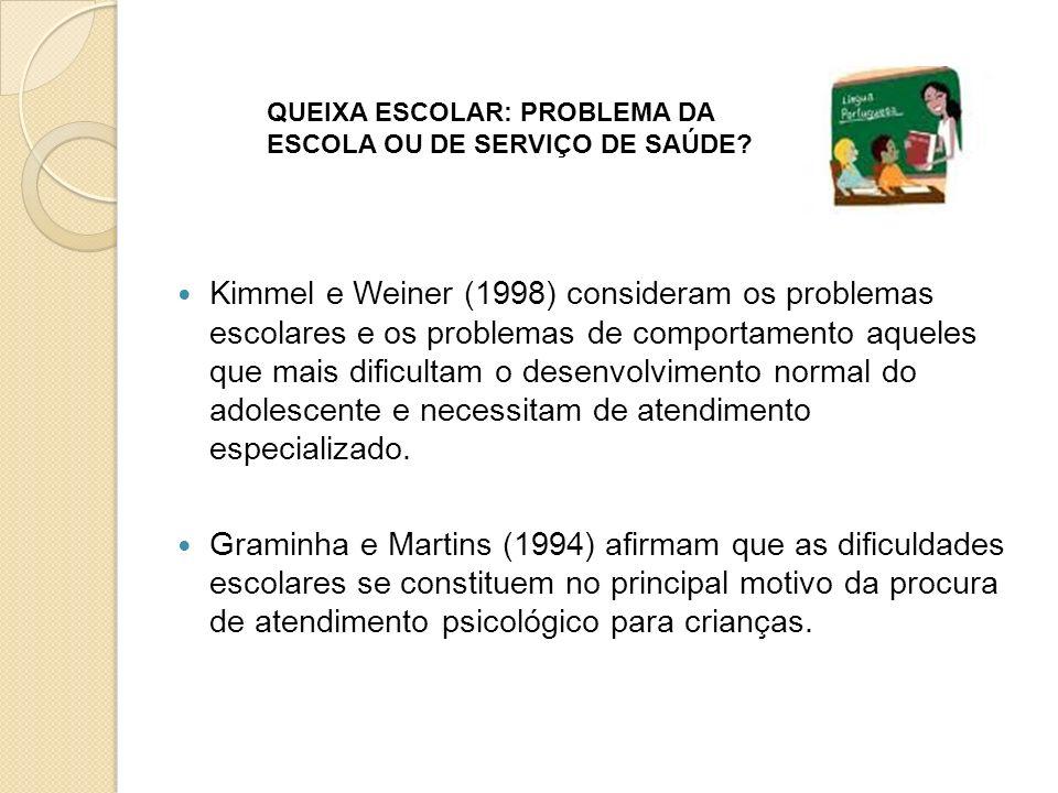 Kimmel e Weiner (1998) consideram os problemas escolares e os problemas de comportamento aqueles que mais dificultam o desenvolvimento normal do adole