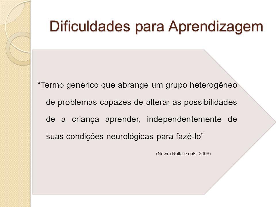 Dificuldades para Aprendizagem Termo genérico que abrange um grupo heterogêneo de problemas capazes de alterar as possibilidades de a criança aprender