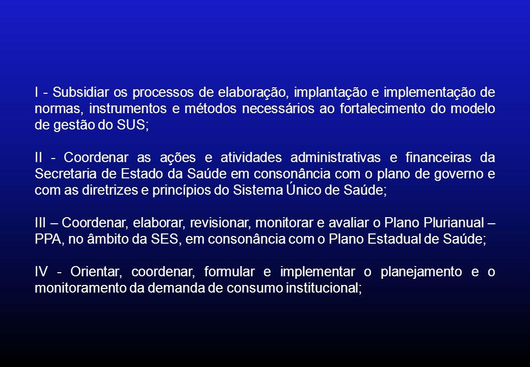 I - Subsidiar os processos de elaboração, implantação e implementação de normas, instrumentos e métodos necessários ao fortalecimento do modelo de gestão do SUS; II - Coordenar as ações e atividades administrativas e financeiras da Secretaria de Estado da Saúde em consonância com o plano de governo e com as diretrizes e princípios do Sistema Único de Saúde; III – Coordenar, elaborar, revisionar, monitorar e avaliar o Plano Plurianual – PPA, no âmbito da SES, em consonância com o Plano Estadual de Saúde; IV - Orientar, coordenar, formular e implementar o planejamento e o monitoramento da demanda de consumo institucional;