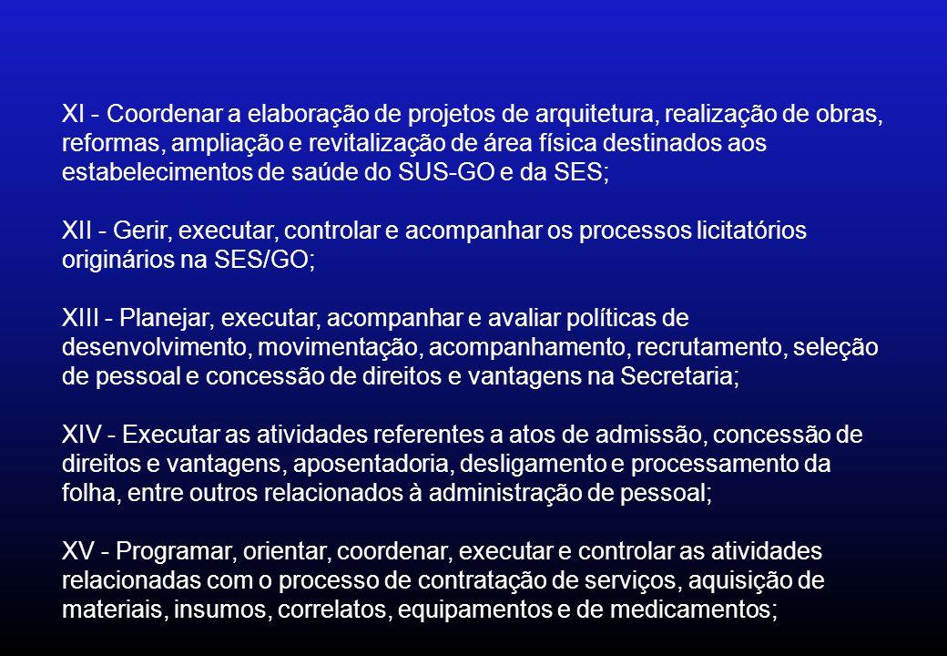 XI - Coordenar a elaboração de projetos de arquitetura, realização de obras, reformas, ampliação e revitalização de área física destinados aos estabel