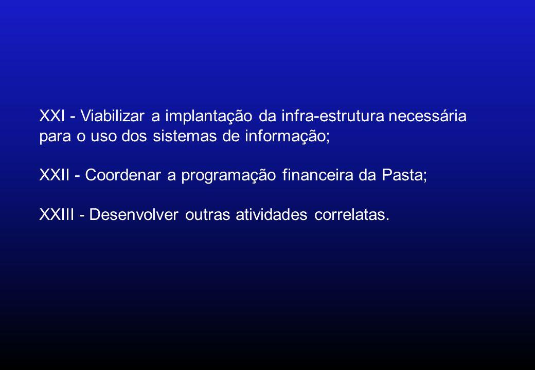 XXI - Viabilizar a implantação da infra-estrutura necessária para o uso dos sistemas de informação; XXII - Coordenar a programação financeira da Pasta; XXIII - Desenvolver outras atividades correlatas.