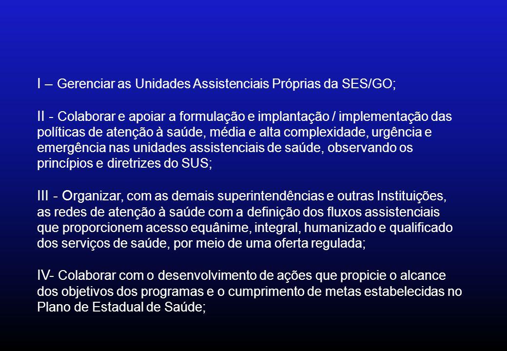 I – Gerenciar as Unidades Assistenciais Próprias da SES/GO; II - Colaborar e apoiar a formulação e implantação / implementação das políticas de atençã