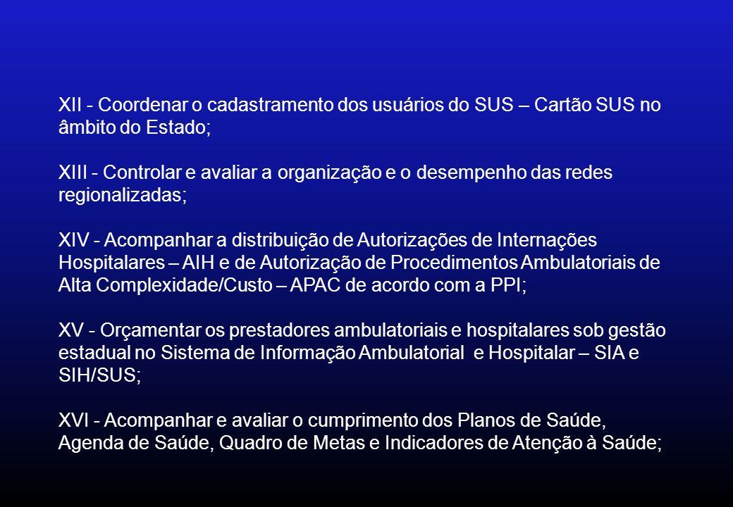 XII - Coordenar o cadastramento dos usuários do SUS – Cartão SUS no âmbito do Estado; XIII - Controlar e avaliar a organização e o desempenho das rede