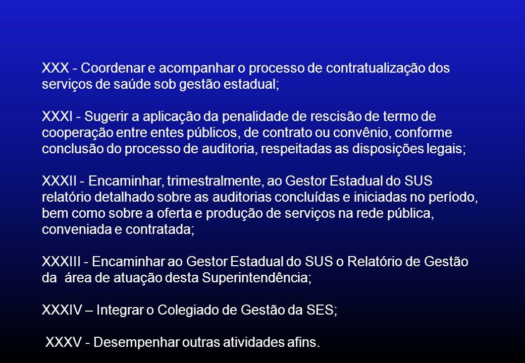 XXX - Coordenar e acompanhar o processo de contratualização dos serviços de saúde sob gestão estadual; XXXI - Sugerir a aplicação da penalidade de res