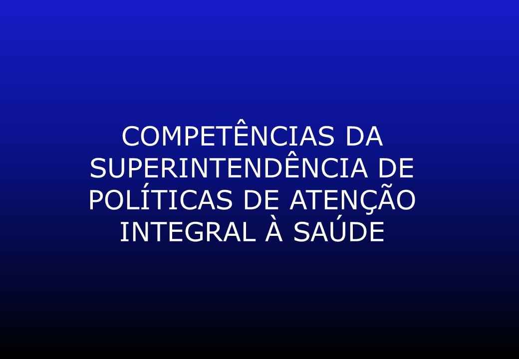 COMPETÊNCIAS DA SUPERINTENDÊNCIA DE POLÍTICAS DE ATENÇÃO INTEGRAL À SAÚDE