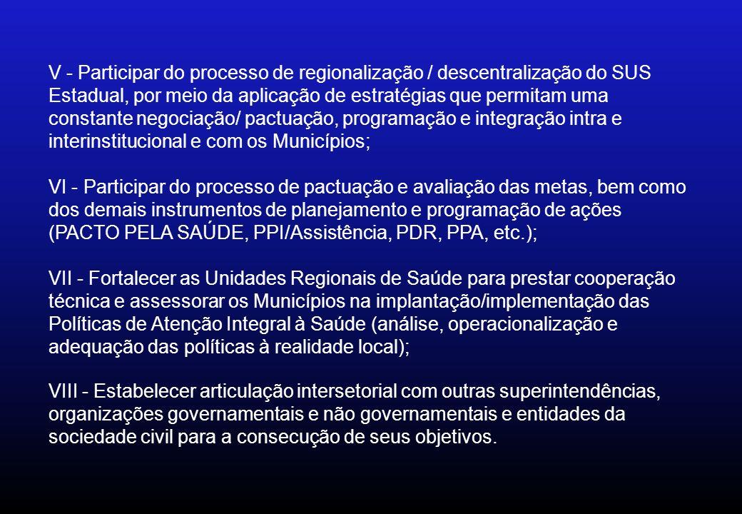 V - Participar do processo de regionalização / descentralização do SUS Estadual, por meio da aplicação de estratégias que permitam uma constante negociação/ pactuação, programação e integração intra e interinstitucional e com os Municípios; VI - Participar do processo de pactuação e avaliação das metas, bem como dos demais instrumentos de planejamento e programação de ações (PACTO PELA SAÚDE, PPI/Assistência, PDR, PPA, etc.); VII - Fortalecer as Unidades Regionais de Saúde para prestar cooperação técnica e assessorar os Municípios na implantação/implementação das Políticas de Atenção Integral à Saúde (análise, operacionalização e adequação das políticas à realidade local); VIII - Estabelecer articulação intersetorial com outras superintendências, organizações governamentais e não governamentais e entidades da sociedade civil para a consecução de seus objetivos.