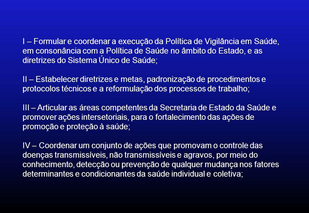 I – Formular e coordenar a execução da Política de Vigilância em Saúde, em consonância com a Política de Saúde no âmbito do Estado, e as diretrizes do