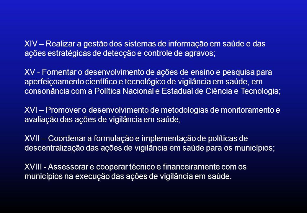 XIV – Realizar a gestão dos sistemas de informação em saúde e das ações estratégicas de detecção e controle de agravos; XV - Fomentar o desenvolviment