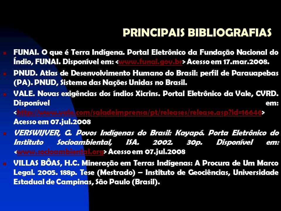 PRINCIPAIS BIBLIOGRAFIAS FUNAI. O que é Terra Indígena. Portal Eletrônico da Fundação Nacional do Índio, FUNAI. Disponível em: Acesso em 17.mar.2008.w