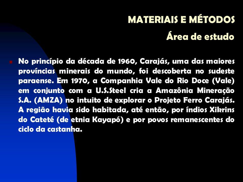 MATERIAIS E MÉTODOS Área de estudo No princípio da década de 1960, Carajás, uma das maiores províncias minerais do mundo, foi descoberta no sudeste pa