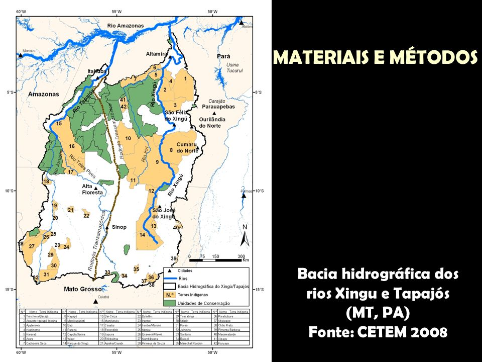 Bacia hidrográfica dos rios Xingu e Tapajós (MT, PA) Fonte: CETEM 2008