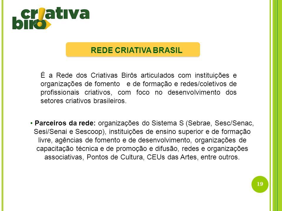 19 REDE CRIATIVA BRASIL É a Rede dos Criativas Birôs articulados com instituições e organizações de fomento e de formação e redes/coletivos de profiss