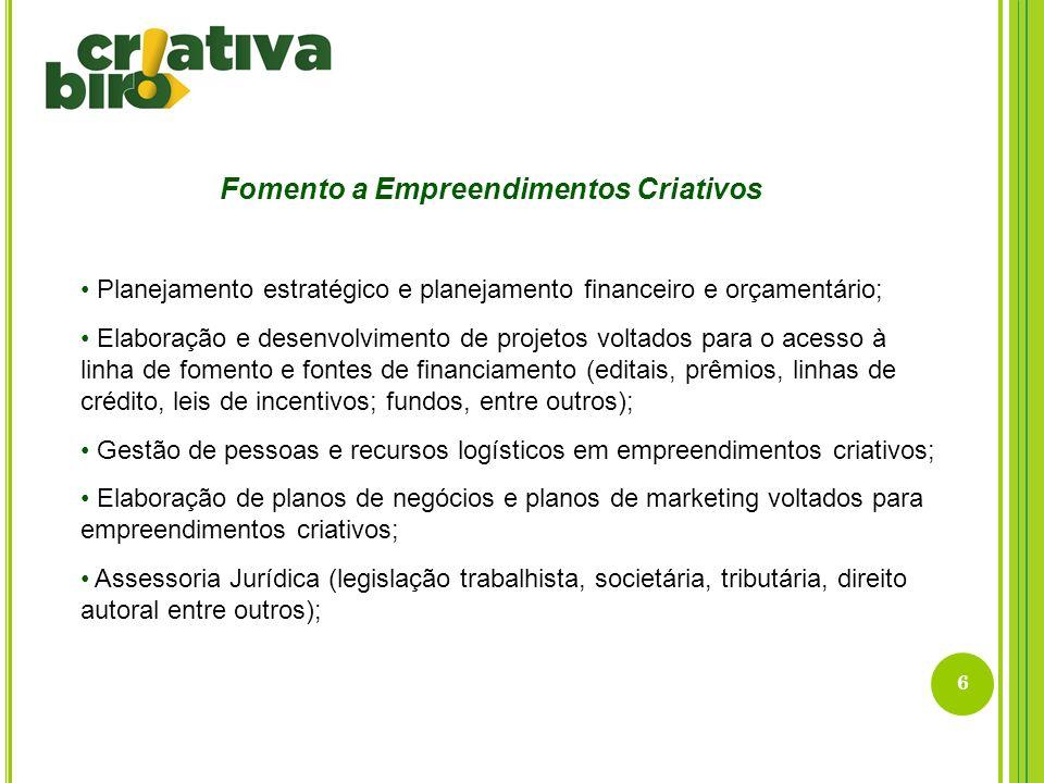 6 Fomento a Empreendimentos Criativos Planejamento estratégico e planejamento financeiro e orçamentário; Elaboração e desenvolvimento de projetos volt
