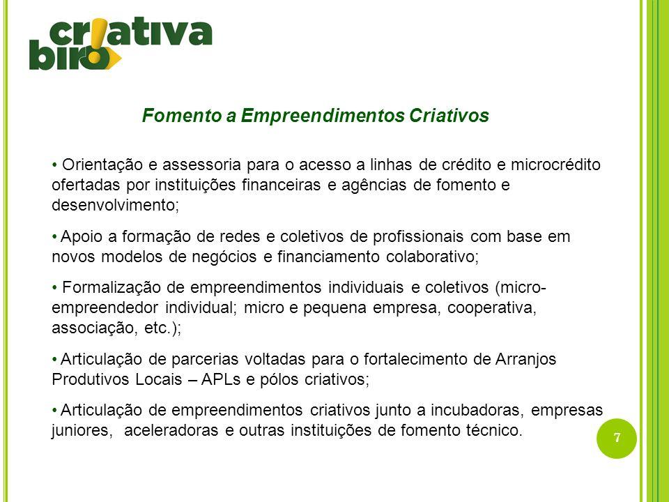 8 Formação para Profissionais Criativos Gestão de Carreiras; Gestão de empreendimentos; Gestão de redes e coletivos; Capacitação técnica para profissionais inseridos nas cadeias produtivas dos setores criativos.