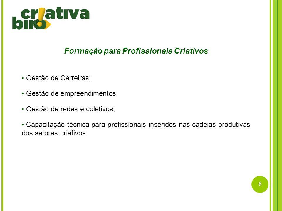 8 Formação para Profissionais Criativos Gestão de Carreiras; Gestão de empreendimentos; Gestão de redes e coletivos; Capacitação técnica para profissi