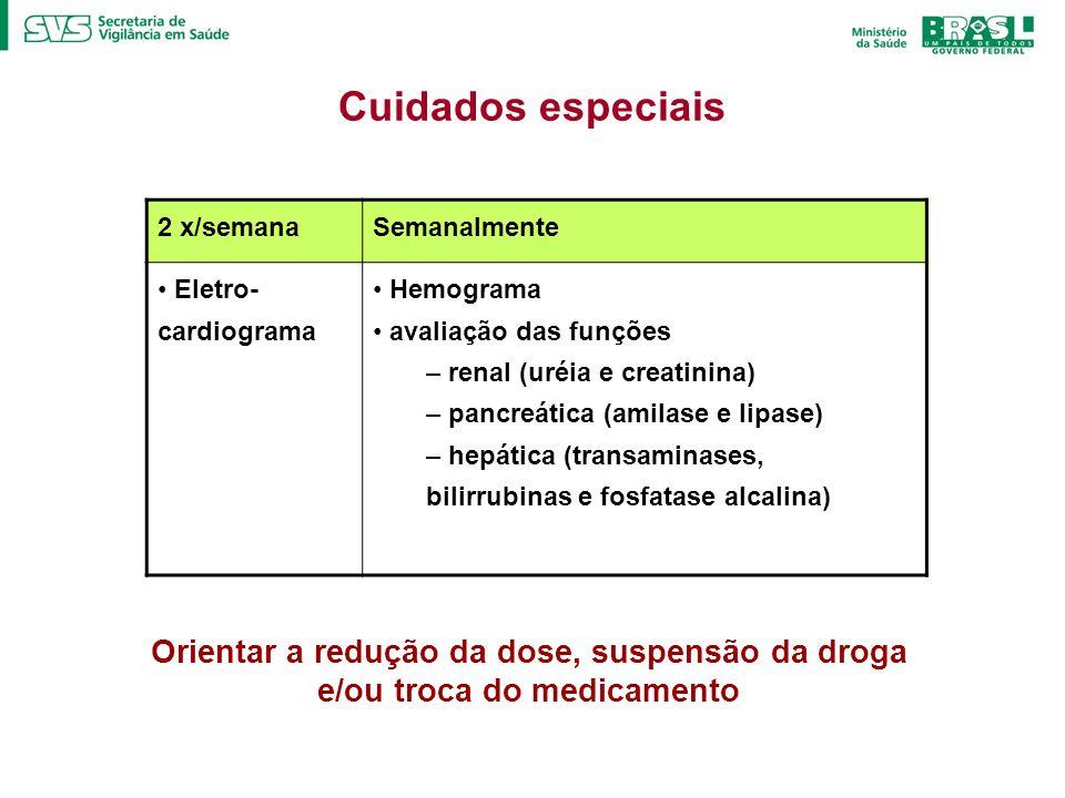 Cuidados especiais 2 x/semanaSemanalmente Eletro- cardiograma Hemograma avaliação das funções – renal (uréia e creatinina) – pancreática (amilase e li