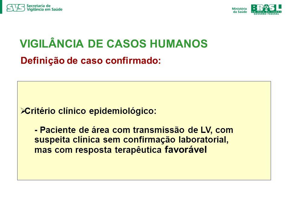 Definição de caso confirmado: Critério clínico epidemiológico: - Paciente de área com transmissão de LV, com suspeita clínica sem confirmação laborato