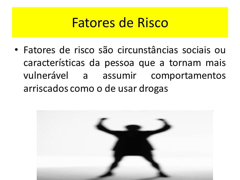 Fatores de Risco Fatores de risco são circunstâncias sociais ou características da pessoa que a tornam mais vulnerável a assumir comportamentos arrisc