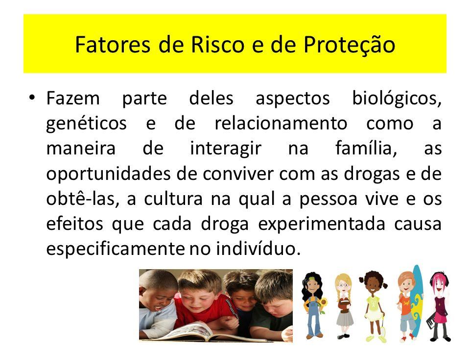 Fatores de Risco e de Proteção UM MESMO FATOR PODE SER DE RISCO PARA UMA PESSOA E DE PROTEÇÃO PARA OUTRA.