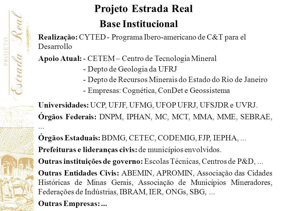 Base Institucional Universidades: UCP, UFJF, UFMG, UFOP UFRJ, UFSJDR e UVRJ. Órgãos Federais: DNPM, IPHAN, MC, MCT, MMA, MME, SEBRAE,... Órgãos Estadu