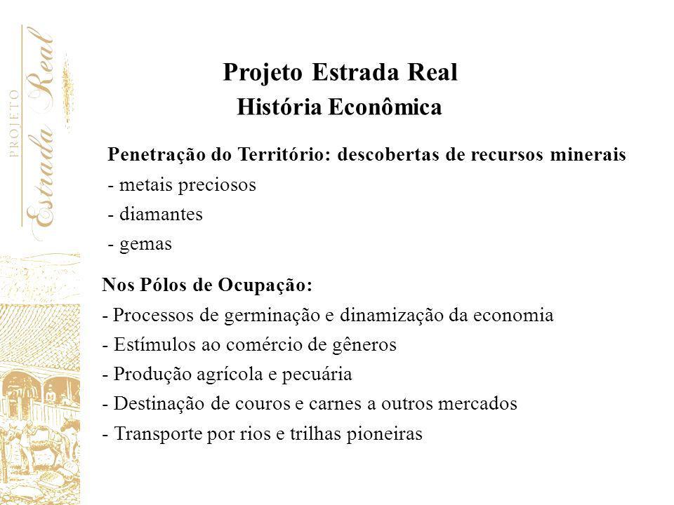 Nos Pólos de Ocupação: - Processos de germinação e dinamização da economia - Estímulos ao comércio de gêneros - Produção agrícola e pecuária - Destina