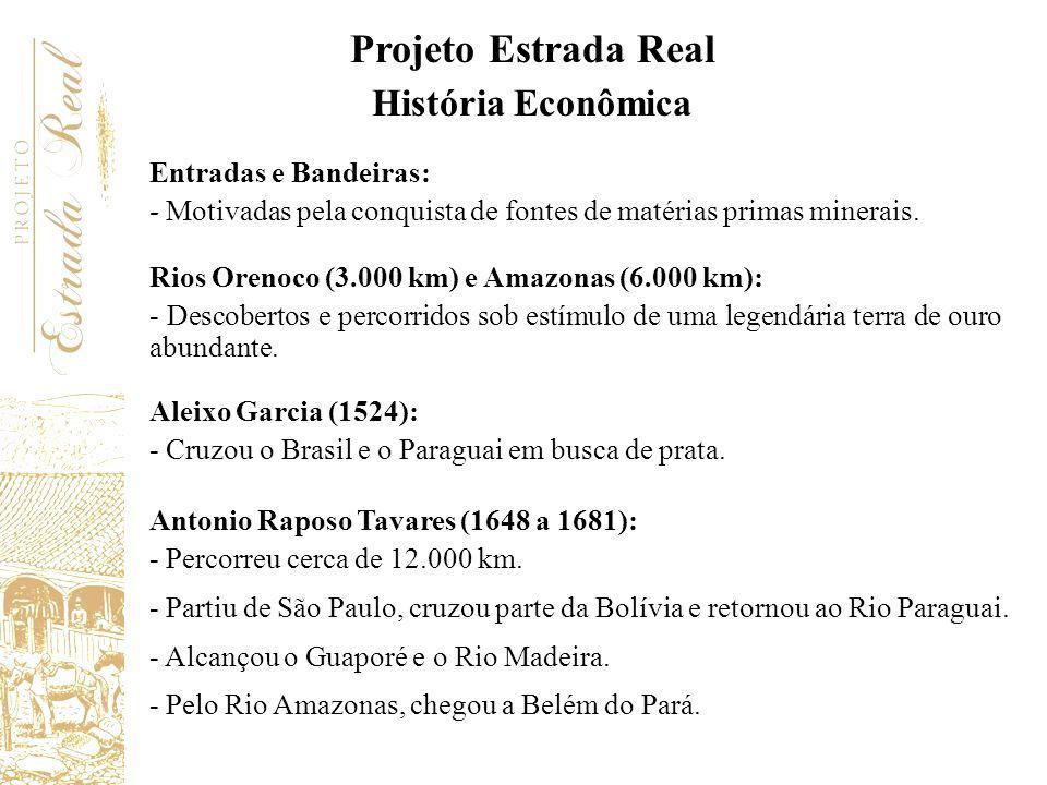 Entradas e Bandeiras: - Motivadas pela conquista de fontes de matérias primas minerais. Rios Orenoco (3.000 km) e Amazonas (6.000 km): - Descobertos e