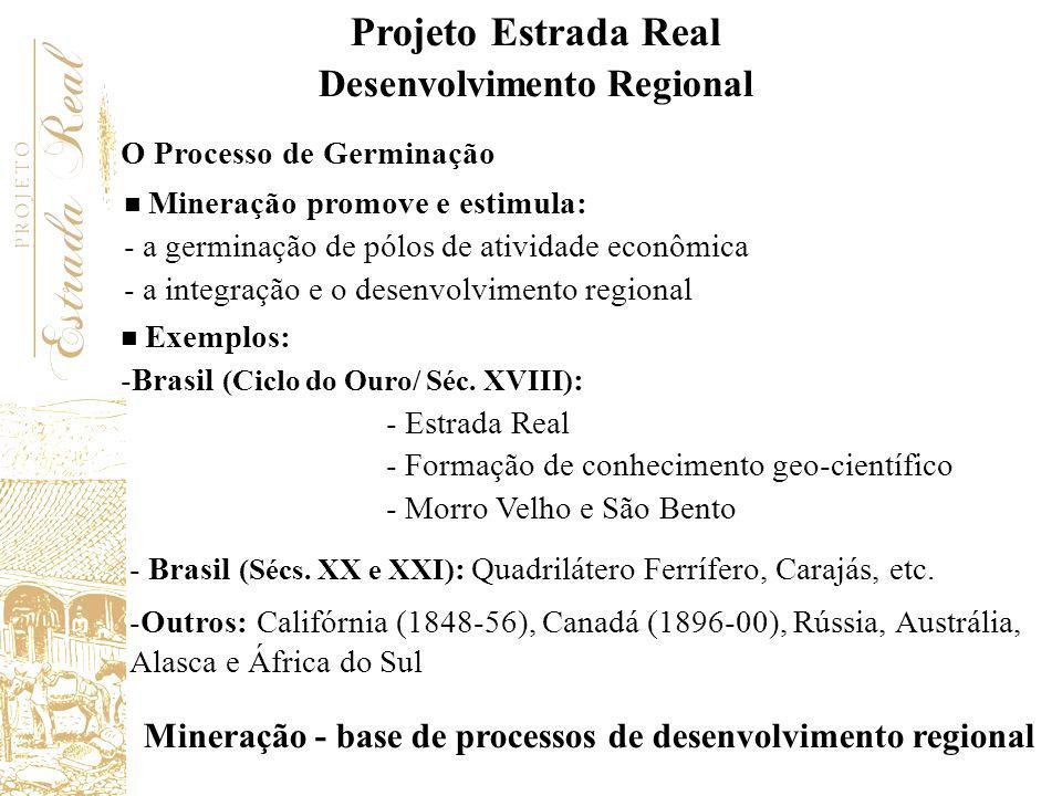 O Processo de Germinação Mineração promove e estimula: - a germinação de pólos de atividade econômica - a integração e o desenvolvimento regional Mine
