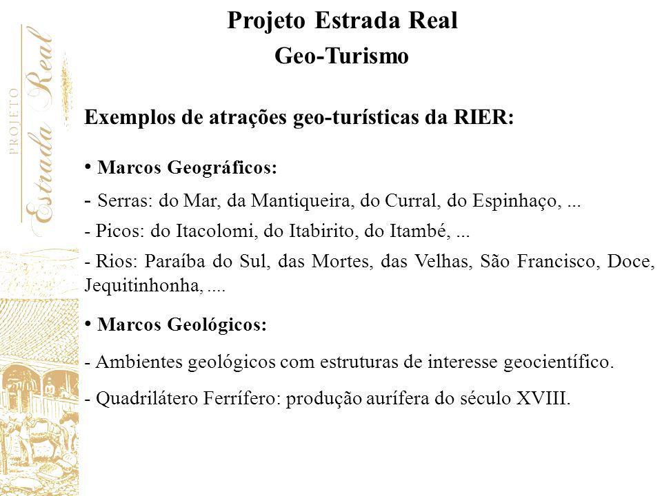 Exemplos de atrações geo-turísticas da RIER: Marcos Geográficos: - Serras: do Mar, da Mantiqueira, do Curral, do Espinhaço,... - Picos: do Itacolomi,