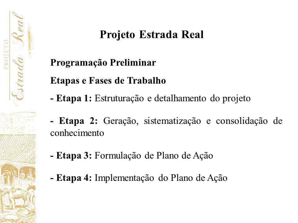Programação Preliminar Etapas e Fases de Trabalho - Etapa 1: Estruturação e detalhamento do projeto - Etapa 2: Geração, sistematização e consolidação