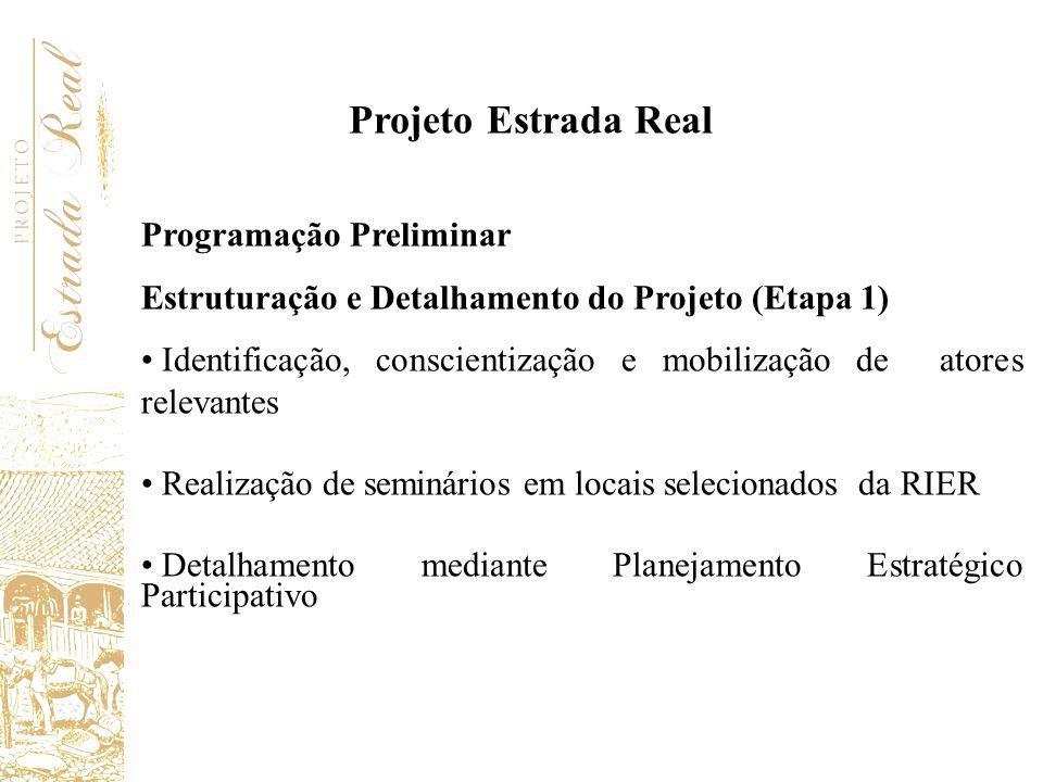 Programação Preliminar Estruturação e Detalhamento do Projeto (Etapa 1) Identificação, conscientização e mobilização de atores relevantes Realização d