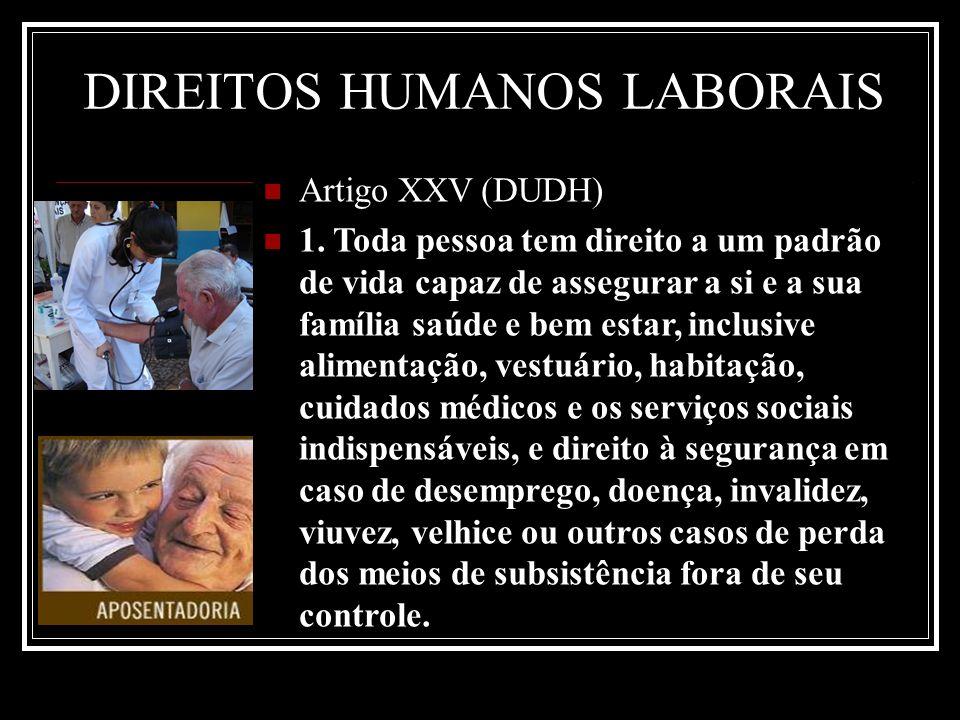 Artigo XXV (DUDH) 1. Toda pessoa tem direito a um padrão de vida capaz de assegurar a si e a sua família saúde e bem estar, inclusive alimentação, ves
