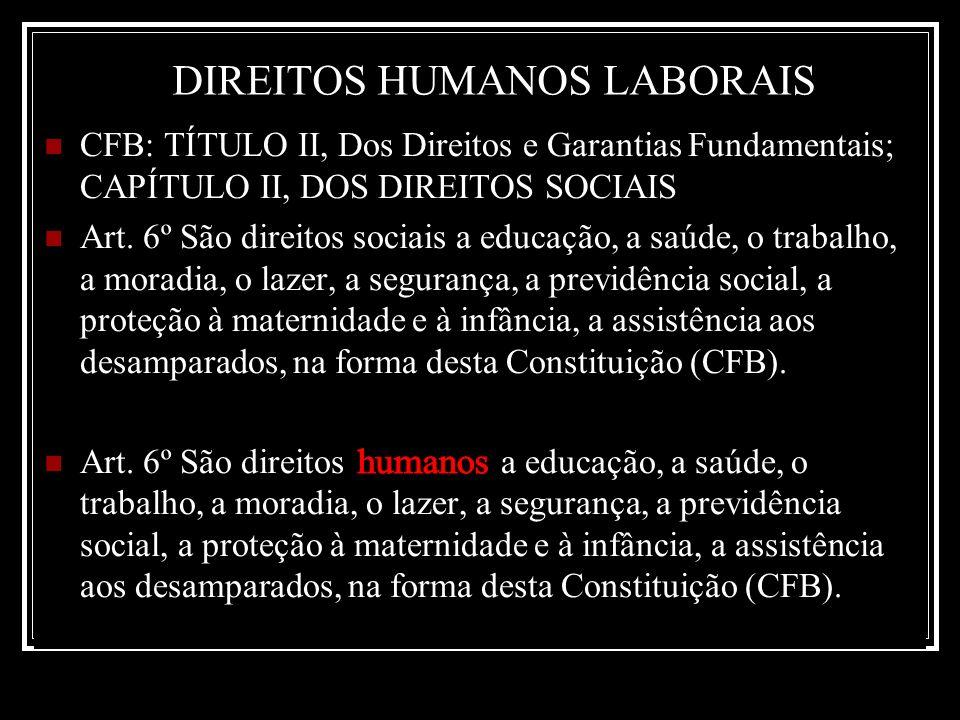 CFB: TÍTULO II, Dos Direitos e Garantias Fundamentais; CAPÍTULO II, DOS DIREITOS SOCIAIS Art. 6º São direitos sociais a educação, a saúde, o trabalho,