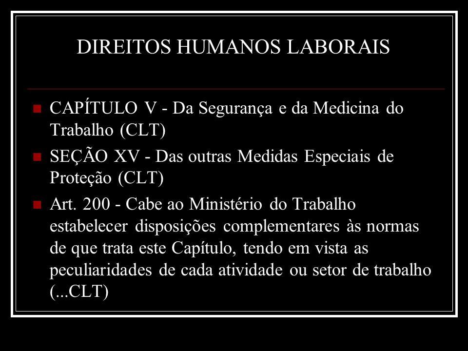 DIREITOS HUMANOS LABORAIS CAPÍTULO V - Da Segurança e da Medicina do Trabalho (CLT) SEÇÃO XV - Das outras Medidas Especiais de Proteção (CLT) Art. 200