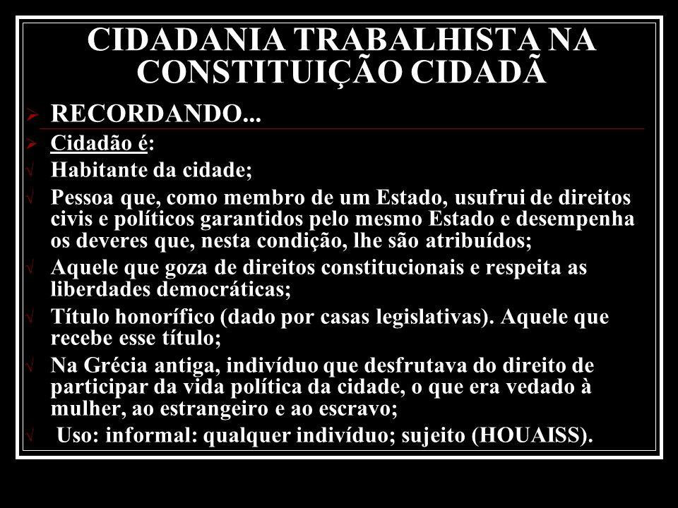 CIDADANIA TRABALHISTA NA CONSTITUIÇÃO CIDADÃ RECORDANDO...