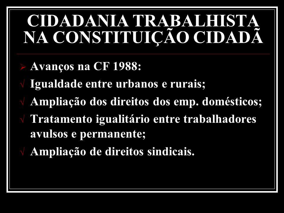 Avanços na CF 1988: Igualdade entre urbanos e rurais; Ampliação dos direitos dos emp. domésticos; Tratamento igualitário entre trabalhadores avulsos e