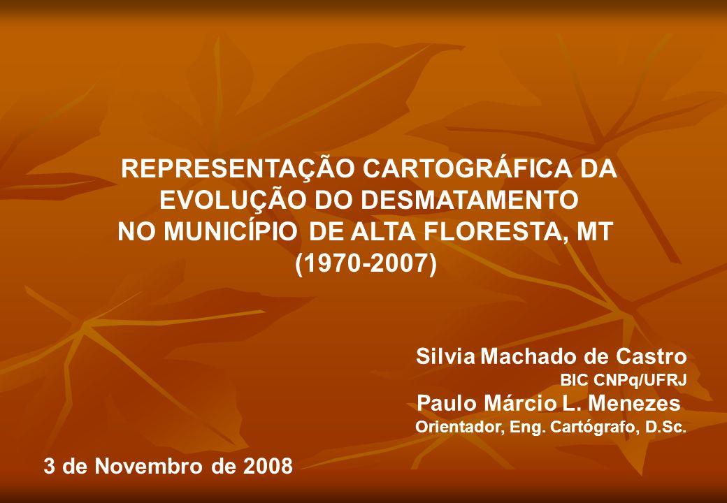 REPRESENTAÇÃO CARTOGRÁFICA DA EVOLUÇÃO DO DESMATAMENTO NO MUNICÍPIO DE ALTA FLORESTA, MT (1970-2007) Silvia Machado de Castro BIC CNPq/UFRJ Paulo Márc