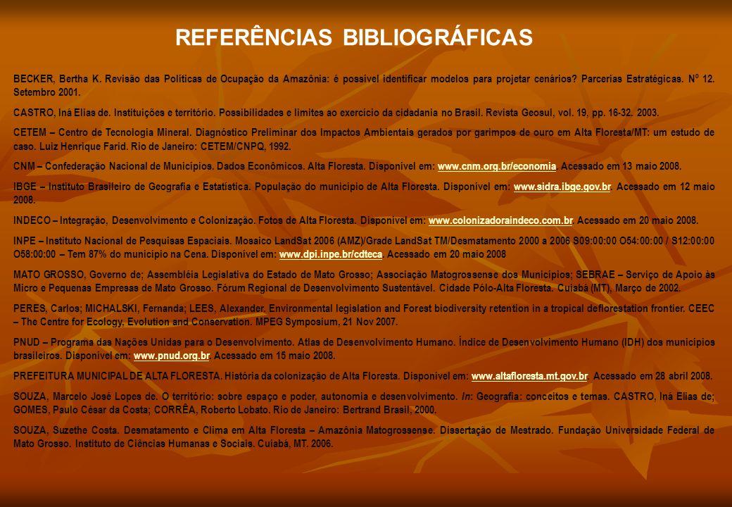 REFERÊNCIAS BIBLIOGRÁFICAS BECKER, Bertha K. Revisão das Políticas de Ocupação da Amazônia: é possível identificar modelos para projetar cenários? Par