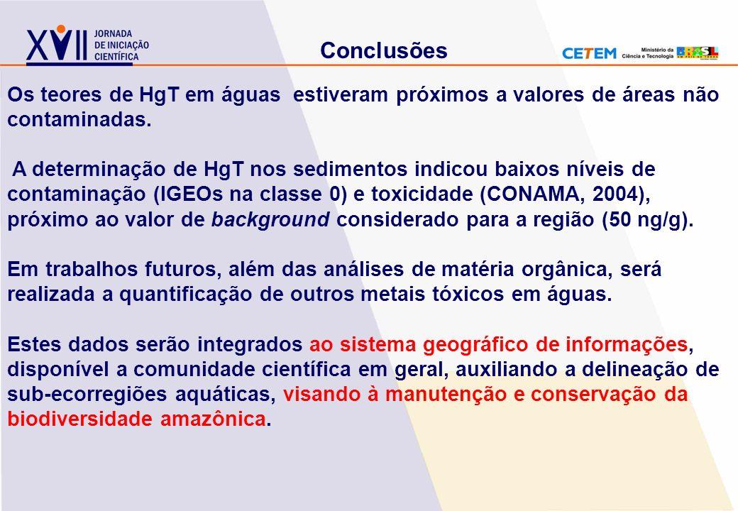 Os teores de HgT em águas estiveram próximos a valores de áreas não contaminadas. A determinação de HgT nos sedimentos indicou baixos níveis de contam