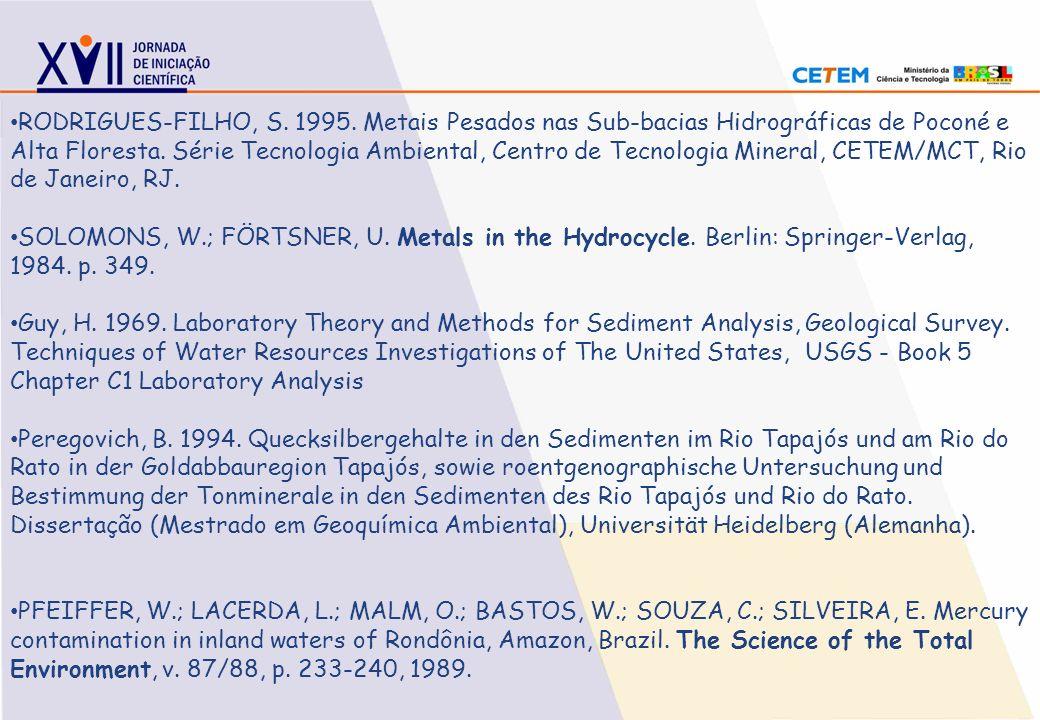 RODRIGUES-FILHO, S. 1995. Metais Pesados nas Sub-bacias Hidrográficas de Poconé e Alta Floresta. Série Tecnologia Ambiental, Centro de Tecnologia Mine