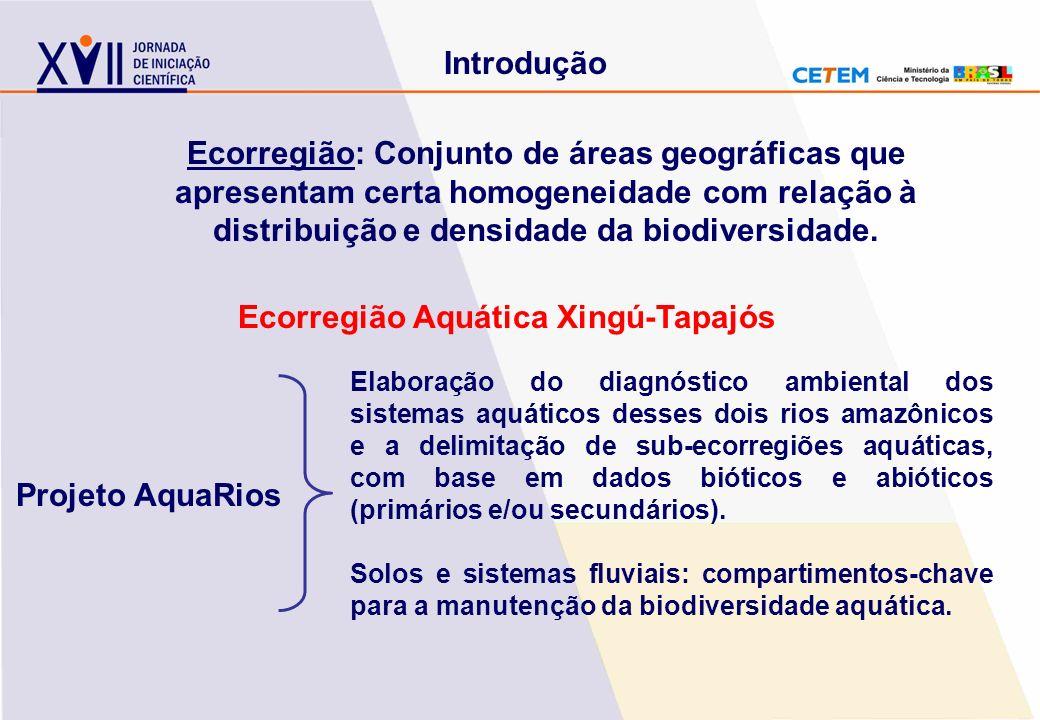 Introdução Ecorregião Aquática Xingú-Tapajós Ecorregião: Conjunto de áreas geográficas que apresentam certa homogeneidade com relação à distribuição e