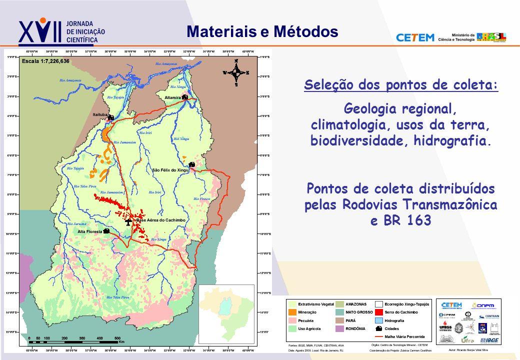 Seleção dos pontos de coleta: Geologia regional, climatologia, usos da terra, biodiversidade, hidrografia. Pontos de coleta distribuídos pelas Rodovia