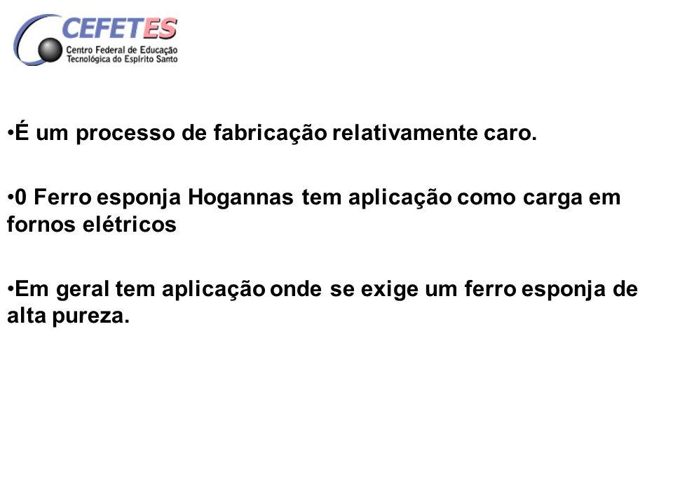 PROCESSO HOGANAS PROCESSO DE FABRICAÇÃO - Os finos de minério de ferro são carregados verticalmente dentro de potes de proteção de material refratário (carbeto de silício).